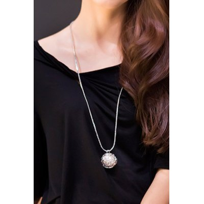 Delicate Faux Pearl Hollow Out Ball Shape Necklace