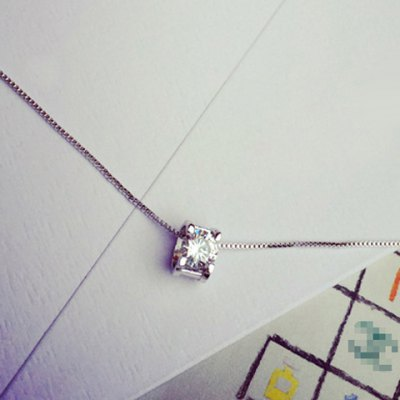 Simple Style Rhinestone Square Necklace For Women