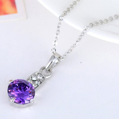 Delicate Faux Amethyst Round Pendant Necklace For WomenNecklaces &amp; Pendants<br>Delicate Faux Amethyst Round Pendant Necklace For Women<br><br>Item Type: Pendant Necklace<br>Gender: For Women<br>Style: Classic<br>Shape/Pattern: Round<br>Length: 45CM<br>Weight: 0.08KG<br>Package Contents: 1 x Necklace