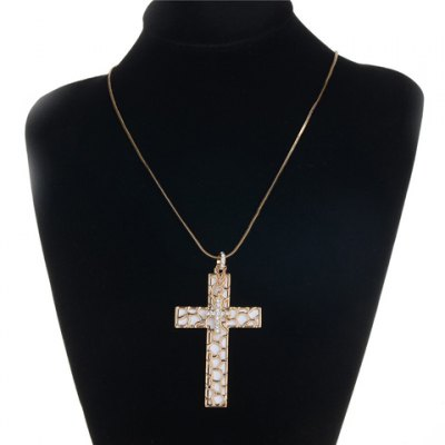 Trendy Rhinestone Cross Women's Pendant Necklace