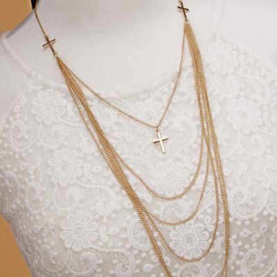 Delicate Cross Layered Necklace For Women