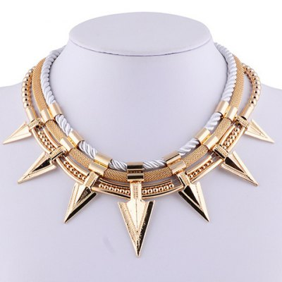 Characteristic Pointed Cone Rivet Layered Necklace For Women