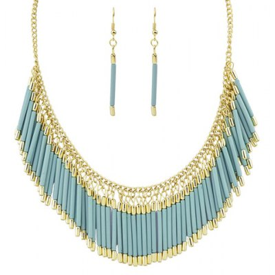 A Suit of Graceful Tassel Necklace and Earrings For Women