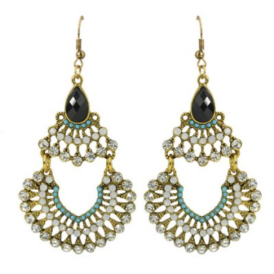 Pair of Delicate Rhinestone Hollow Out Fan-Shaped Earrings For Women