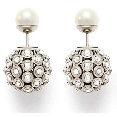 Pair of Chic Hollow Out Rhinestone Ball Faux Pearl Earrings For Women