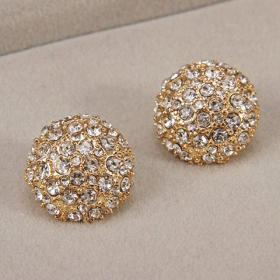 Pair of Alloy Rhinestoned Round Stud Earrings