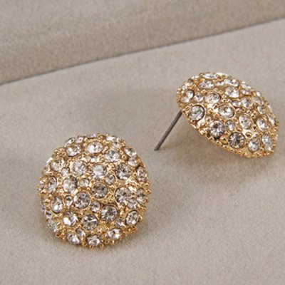 Pair of Dazzling Rhinestoned Round Stud Earrings For Women
