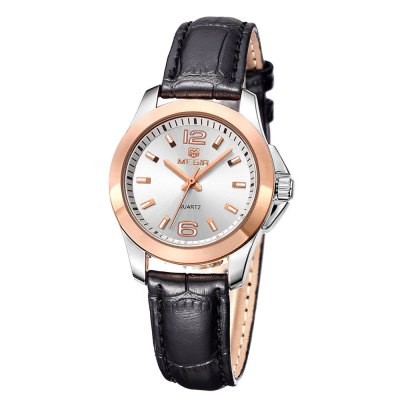 MEGIR 5006L Leather Band Women Quartz Watch