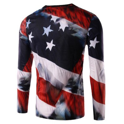 Round Neck 3D Eagle and Flag Print Long Sleeve Men's T-Shirt