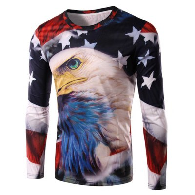 Round Neck 3D Bald Eagle and Flag Print Long Sleeve Men's T-Shirt