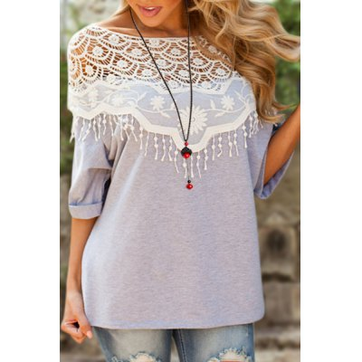 Lace Cutout Shirt Women Handmade Crochet Cape Collar Batwing Sleeve T-ShirtWomens T-Shirts<br>Lace Cutout Shirt Women Handmade Crochet Cape Collar Batwing Sleeve T-Shirt<br><br>Material: Cotton Blends<br>Clothing Length: Long<br>Sleeve Length: Half<br>Collar: Scoop Neck<br>Style: Casual<br>Season: Spring,Summer<br>Embellishment: Lace<br>Pattern Type: Patchwork<br>Weight: 0.140KG<br>Package Contents: 1 x T-Shirt