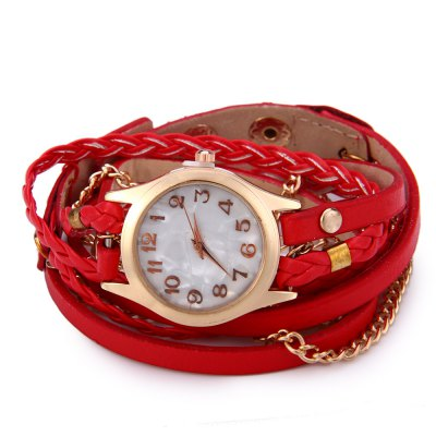 Women Antique Weave Bracelet Analog Wrist WatchWomens Watches<br>Women Antique Weave Bracelet Analog Wrist Watch<br><br>Watches categories: Female table<br>Available color: Pink,Black,White,Red,Blue,Purple,Brown<br>Style: Bracelet,Retro<br>Movement type: Quartz watch<br>Shape of the dial: Round<br>Display type: Analog<br>Case material: Zinc-alloy + stainless steel<br>Band material: Leather<br>Clasp type: Buckle<br>The dial thickness: 0.8 cm / 0.31 inches<br>The dial diameter: 2.5 cm / 0.98 inches<br>The band width: 1 cm / 0.39 inches<br>Wearable length: 54 - 57 cm / 21.26 -22.44 inches<br>Product weight: 0.035 kg<br>Package weight: 0.040 kg<br>Package size (L x W x H): 26.00 x 6.00 x 1.00 cm / 10.24 x 2.36 x 0.39 inches<br>Package Contents: 1 x Women Antique Bracelet Wrist Watch