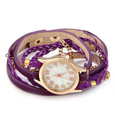 Women Antique Weave Bracelet Analog Wrist WatchWomens Watches<br>Women Antique Weave Bracelet Analog Wrist Watch<br><br>Watches categories: Female table<br>Available color: Pink,Black,White,Red,Blue,Purple,Brown<br>Style: Bracelet,Retro<br>Movement type: Quartz watch<br>Shape of the dial: Round<br>Display type: Analog<br>Case material: Zinc-alloy + stainless steel<br>Band material: Leather<br>Clasp type: Buckle<br>The dial thickness: 0.8 cm / 0.31 inches<br>The dial diameter: 2.5 cm / 0.98 inches<br>The band width: 1 cm / 0.39 inches<br>Wearable length: 54 - 57 cm / 21.26 -22.44 inches<br>Product weight: 0.035 kg<br>Package weight: 0.050 kg<br>Package size (L x W x H): 26.00 x 6.00 x 1.00 cm / 10.24 x 2.36 x 0.39 inches<br>Package Contents: 1 x Women Antique Bracelet Wrist Watch