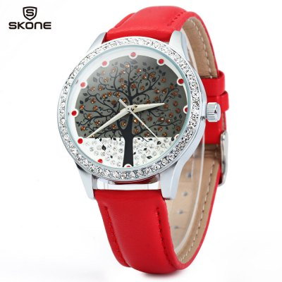SKONE 9195 Rhinestone Big Tree Dial Female Watch