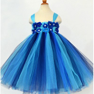 Sleeveless Flower Embellish Color Block Multilayered Ball Gown Dress For Girl