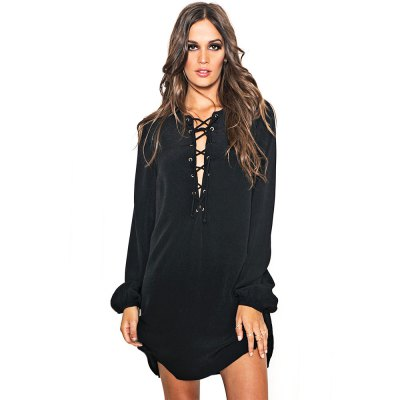 Sexy V-Neck Flare Sleeve Criss Cross Hollow Out Pure Color Ladies Mini Dress