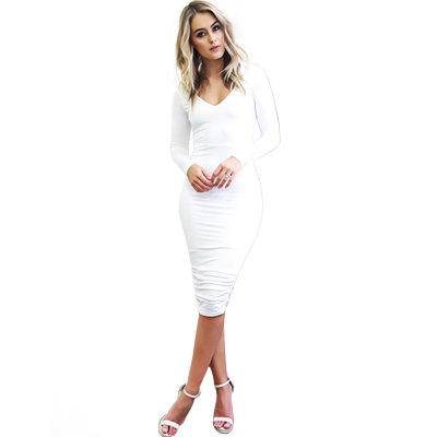 Sexy V-Neck Long Sleeve Pure Color Backless Criss Cross Bodycon Ladies Midi Dress