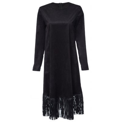 Vintage Round Collar Long Sleeve Pure Color Fringed Ladies Midi Dress