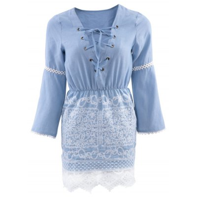 V-Neck Flare Sleeve Lace Spliced Lace Up Denim Ladies Midi Dress