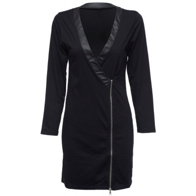 Sexy Pluning Neck Long Sleeve Faux Leather Spliced Zippered Bodycon Ladies Midi Dress