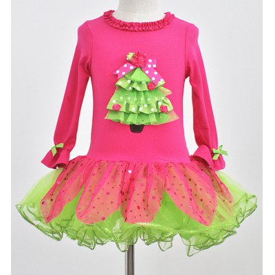Long Sleeve Bowknot Spliced Christmas Tree Design Multilayered Ball Gown Dress For Girl