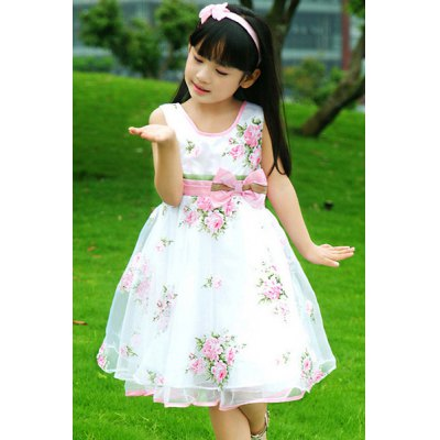Sleeveless Bowknot Embellish Floral Print Perform Girl's A-Line Dress