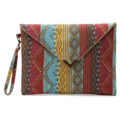 National Style Metal and Color Matching Design Women's Clutch Bag