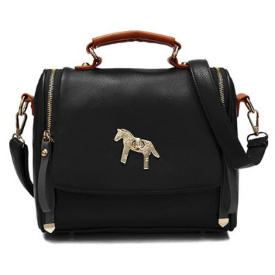 Trendy Pony Pattern and Metal Design Women's Tote Bag