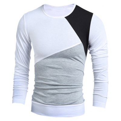Multicolor Panel Round Neck Long Sleeves T-Shirt