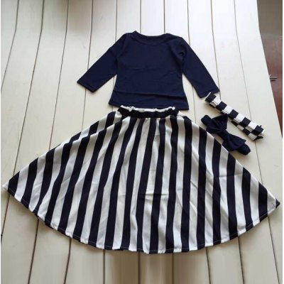 Long Sleeve T-Shirt + Maxi Striped Color Block Skirt Twinset For Girl