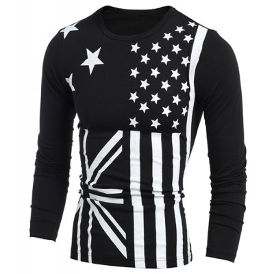 Classic Union Jack and American Flag Print Round Neck Long Sleeves Mens Slimming T-ShirtMens Long Sleeves Tees<br>Classic Union Jack and American Flag Print Round Neck Long Sleeves Mens Slimming T-Shirt<br><br>Material: Cotton Blends<br>Sleeve Length: Full<br>Collar: Round Neck<br>Style: Fashion<br>Weight: 0.258kg<br>Package Contents: 1 x T-Shirt<br>Pattern Type: Striped