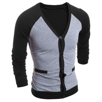 V-Neck Color Block Splicing Single-Breasted Long Sleeve Men's Cardigan