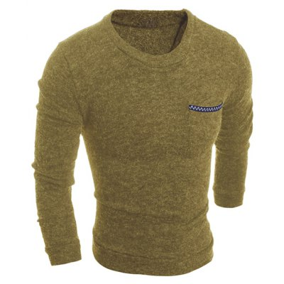 Round Neck Solid Color Edging Pocket Long Sleeve Men's Sweater