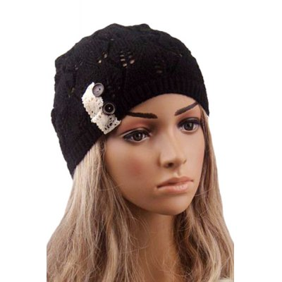 Button Hollow Out Knitted Beanie For Women