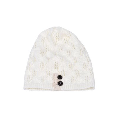 Chic Button Hollow Out Knitted Beanie For Women