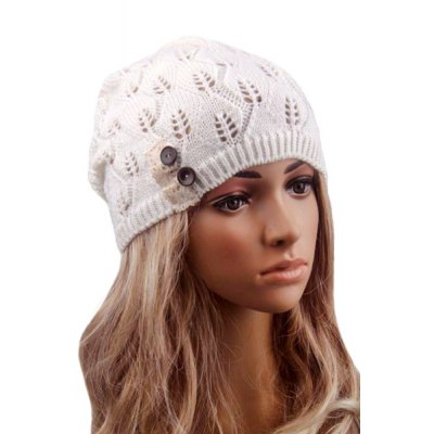 Button Hollow Out Toboggan Hat