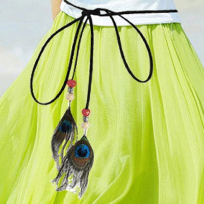 Chic Peacock Feather Pendant Embellished Skinny Belt For Women
