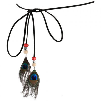 Chic Peacock Feather Pendant Embellished Waist Rope For Women