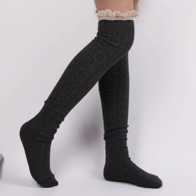 Pair of Chic Lace Edge Solid Color Hemp Flowers Pattern Stockings For Women