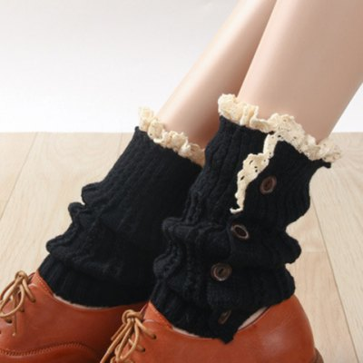 Button and Lace Embellished Knitted Boot Cuffs For Women
