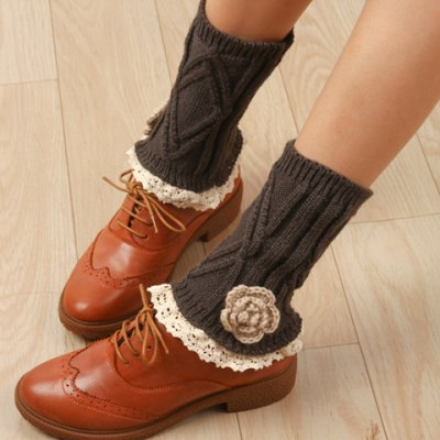 Flower Shape and Lace Embellished Knitted Boot Cuffs For Women