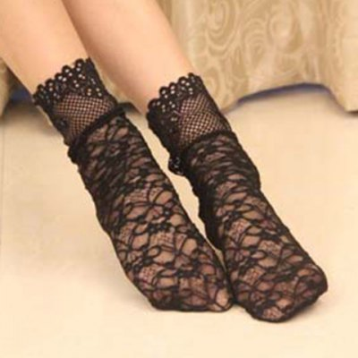 Pair of Chic Hollow Out Thin Lace Socks For Women