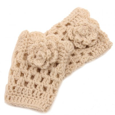 Flower Shape Embellished Hollow Out Knitted Boot Cuffs For Women