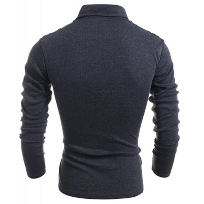 Turn-Down Collar Button Embellished Long Sleeve PU-Leather Splicing Men's T-Shirt