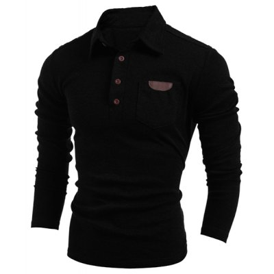 Long Sleeve PU-Leather Insert Polo T-Shirt