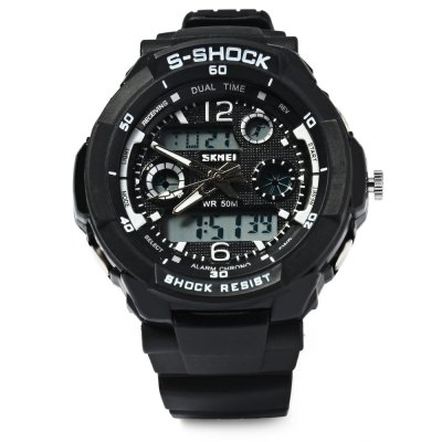 Skmei 1060 LED Sports Watch with Double Japan Movts Waterproof Design and Plastic Watch BandSkmei 1060 LED Sports Watch with Double Japan Movts Waterproof Design and Plastic Watch Band<br><br>People: Unisex table<br>Watch style: Outdoor Sports,LED,Business<br>Shape of the dial: Round<br>Movement type: Digital watch<br>Display type: Analog-Digital<br>Case material: Stainless Steel<br>Band material: PU<br>Clasp type: Pin buckle<br>Special features: Calendar,Alarm Clock,Week,Stopwatch,Multi Time Zones<br>Water resistance : 50 meters<br>The dial thickness: 1.4 cm / 0.55 inches<br>The dial diameter: 4.0 cm / 1.57 inches<br>The band width: 1.7 cm / 0.67 inches<br>Wearable length: 15 - 20 cm / 5.91 - 7.87 inches<br>Product weight: 0.041 kg<br>Package weight: 0.072 kg<br>Product size (L x W x H): 22.00 x 4.00 x 1.70 cm / 8.66 x 1.57 x 0.67 inches<br>Package size (L x W x H): 23.00 x 5.00 x 2.70 cm / 9.06 x 1.97 x 1.06 inches<br>Package Contents: 1 x Watch