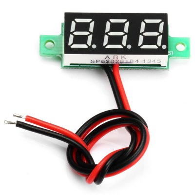 V18D 0.28 inch Green LED DC Voltmeter ModuleLCD,LED Display Module<br>V18D 0.28 inch Green LED DC Voltmeter Module<br><br>Material: Plastic + Iron + PCB<br>Model: V18D<br>Package Contents: 1 x V18D 0.28 inch Green LED DC Voltmeter Module<br>Package Size(L x W x H): 4.4 x 2.1 x 1.9 cm / 1.73 x 0.83 x 0.75 inches<br>Package weight: 0.030 kg<br>Product Size(L x W x H): 3.4 x 1.1 x 0.9 cm / 1.34 x 0.43 x 0.35 inches<br>Product weight: 0.003 kg<br>Type: DC Voltmeter Module