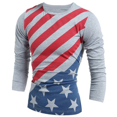 Vogue Slimming Round Neck American Flag Print Color Block Men's Long Sleeves T-Shirt