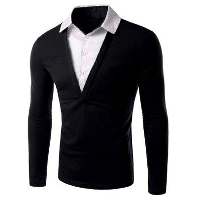 Shirt Collar Long Sleeves T-Shirt