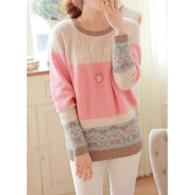 Scoop Neck Long Sleeve Bowknot and Heart Pattern Sweater For Women